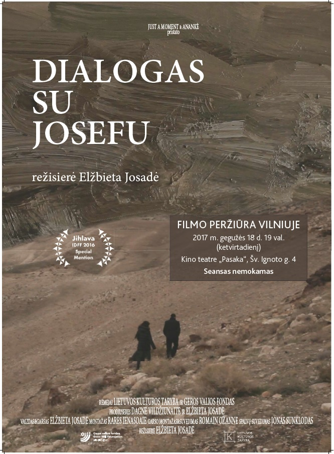 """May 18, 2017 6 pm we kindly invite you to the meeting with the Chairwoman of Lithuanian Jewish Community Faina Kukliansky and the screening of the film """"Dialogue with Joseph"""" by Elžbieta Josadė"""